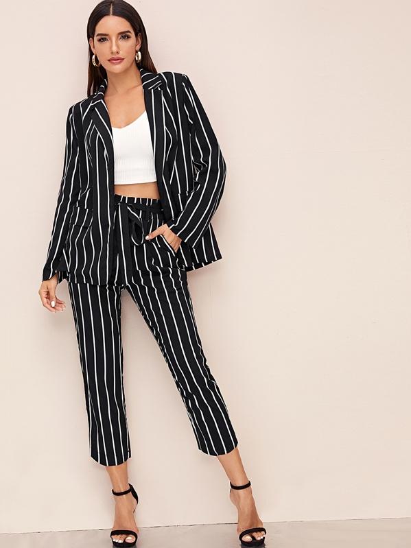 Notch Collar Striped Blazer & Paperbag Waist Belted Pants Set, Black, Juliana