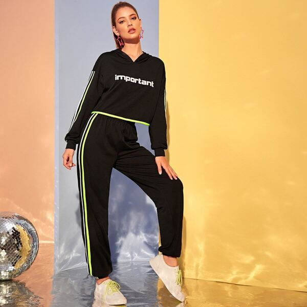Letter Striped Tape Hoodie & Pants Set