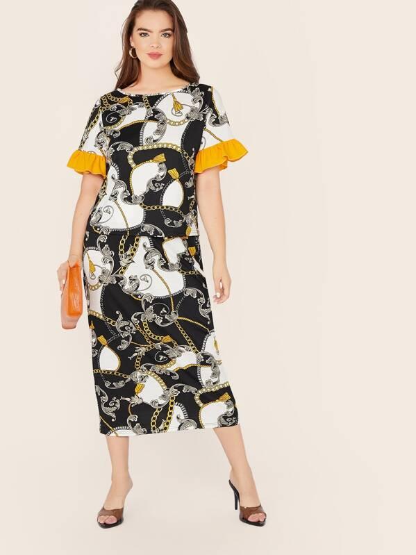 Plus Ruffle Cuff Chain Print Top & Pencil Skirt Set, Faith Bowman