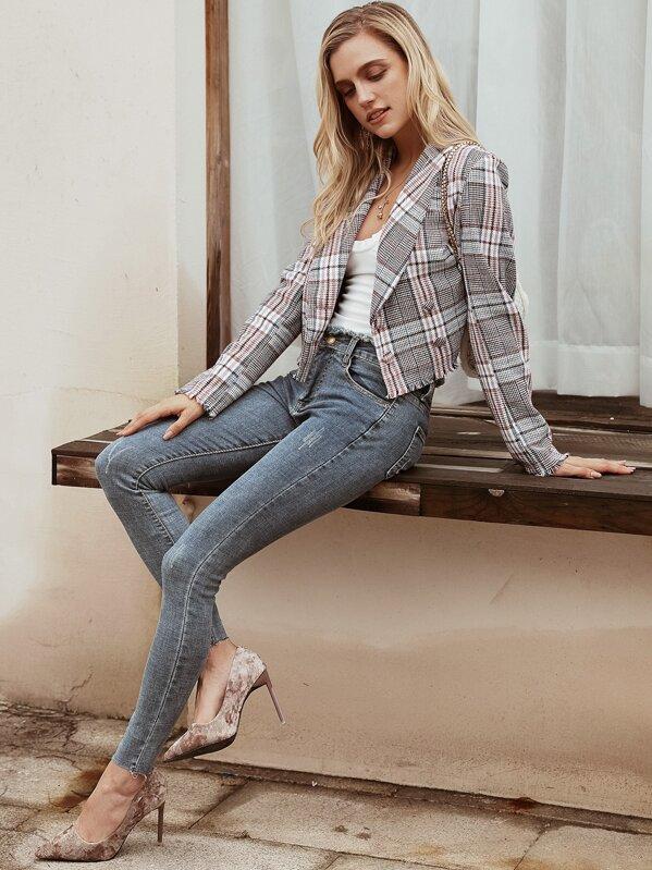 Simplee Plaid Raw Hem Double Breasted Tweed Blazer