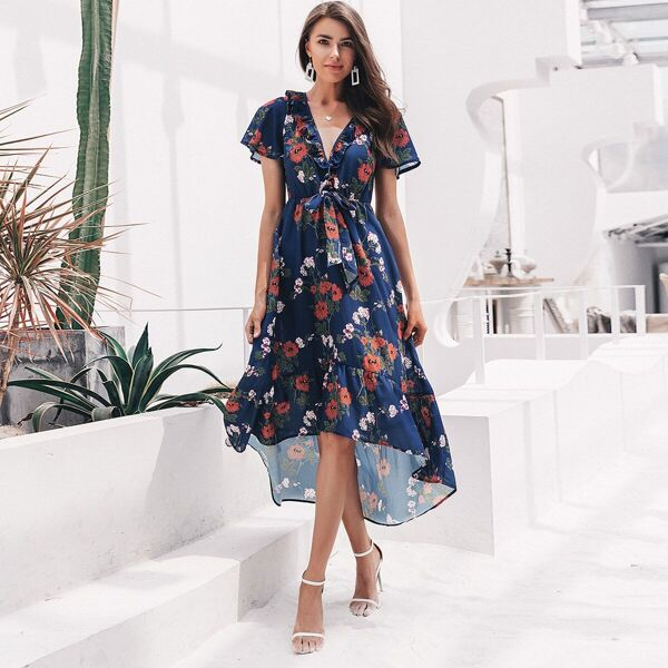 Simplee Floral Asymmetrical Hem Tie Front Ruffle Trim Dress, Navy