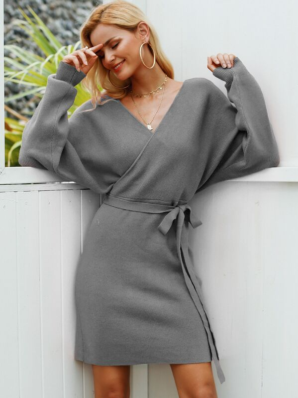 Simplee Solid Cut-out Back Wrap Belted Sweater Dress