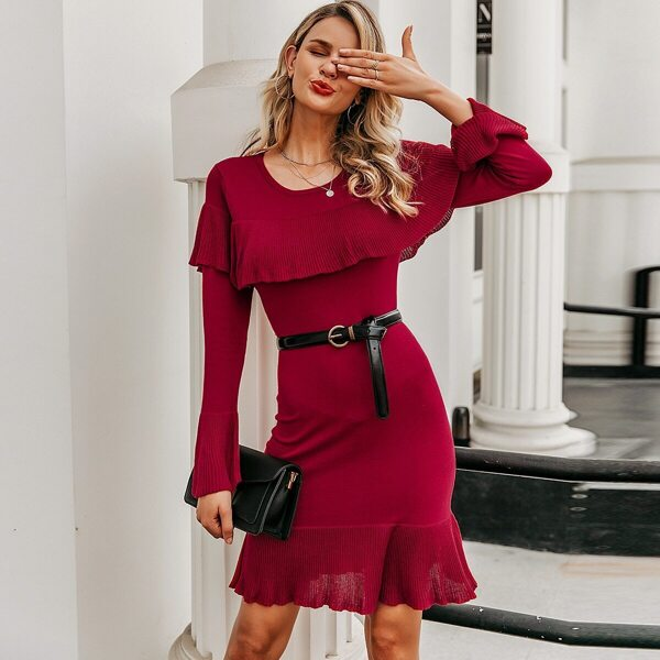 Simplee Solid Ruffle Trim Sweater Dress Without Belted, Burgundy