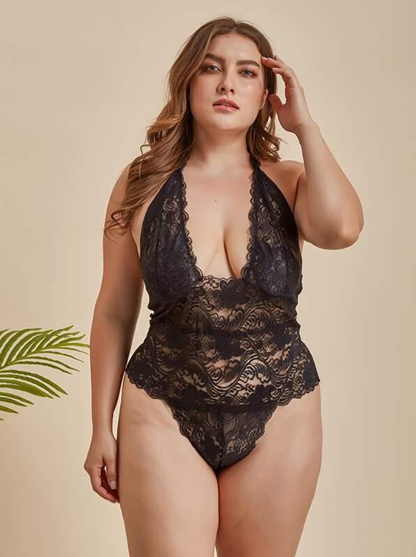 Plus Floral Lace Halter Teddy Bodysuit, Black, Franziska