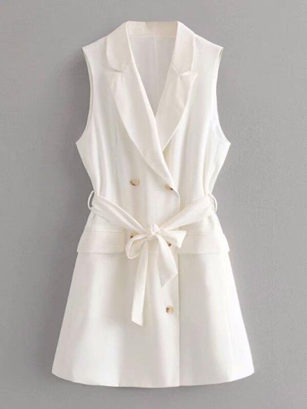 Double-breasted Self Tie Blazer Dress