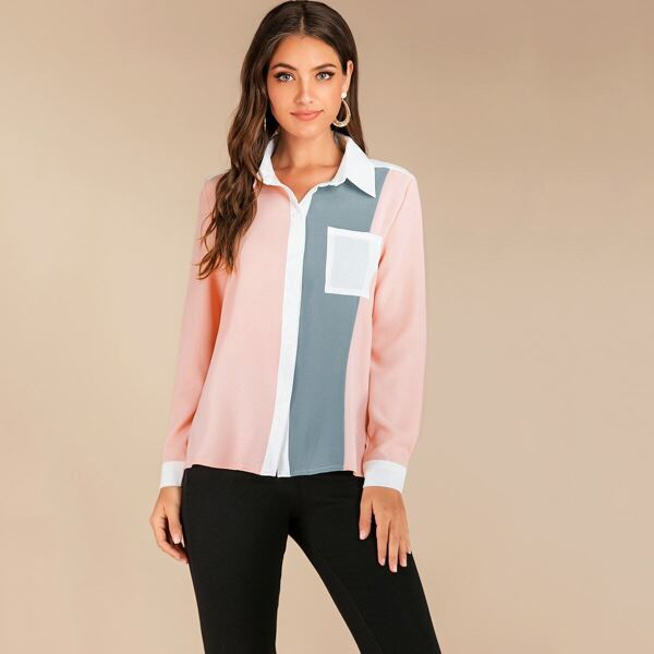 Contrast Spliced Patched Pocket Blouse, Multicolor
