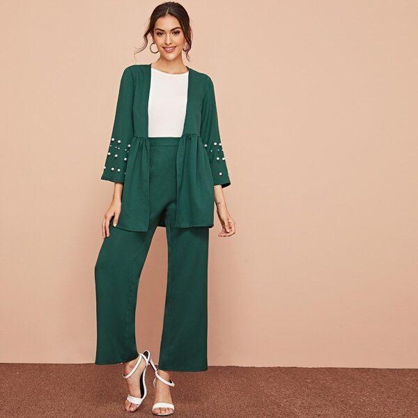 Pearls Beaded Coat & Wide Leg Pants Set