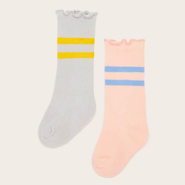 Toddler Girls Contrast Trim Socks 2pairs