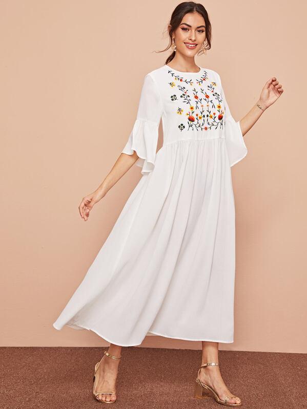 Embroidered Botanical Bell Sleeve Dress, Carol A