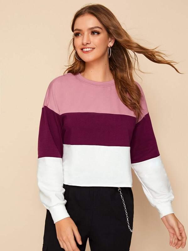 Drop Shoulder Colorblock Pullover, Luiza