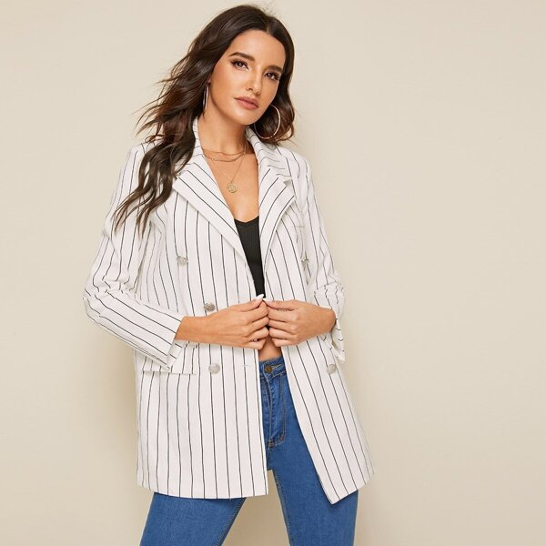 Striped Flap Pocket Double Breasted Blazer