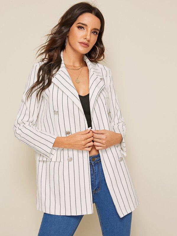 Striped Flap Pocket Double Breasted Blazer, Juliana