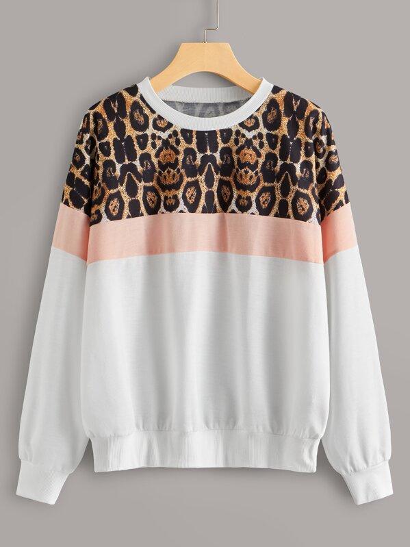 Contrast Leopard Long Sleeve Sweatshirt