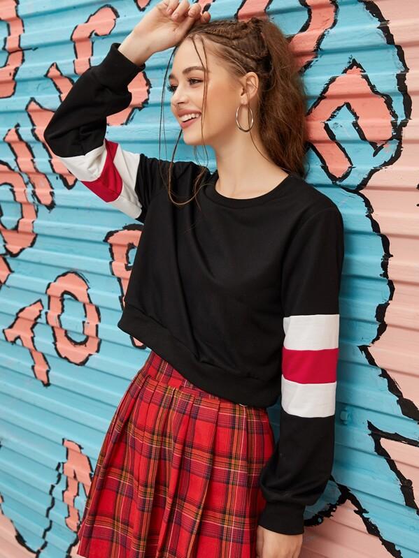 Color-block Sleeve Round Neck Sweatshirt, Sonya