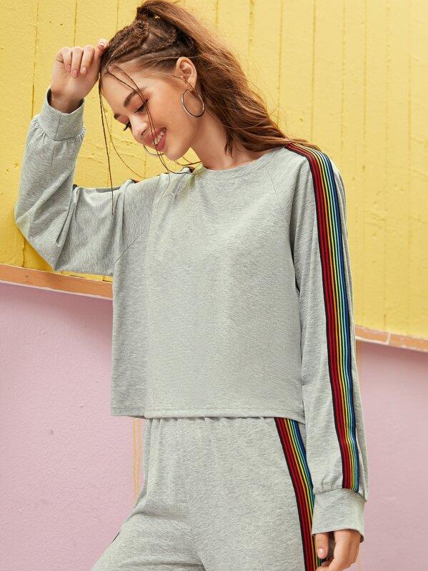 Contrast Tape Raglan Sleeve Sweatshirt Without Bag, Sonya