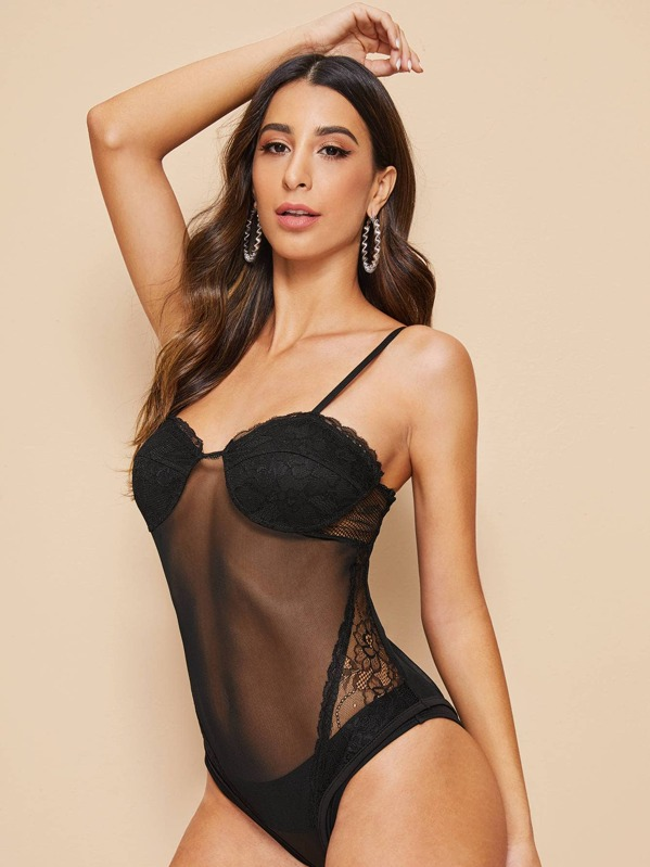 Contrast Lace Mesh Sheer Cami Bodysuit, Gabe