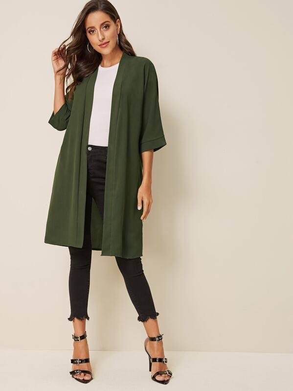 Open Front Solid Coat, Mary P.