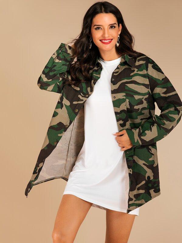 Camouflage Print Curved Hem Coat, Juliana