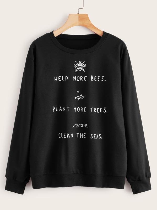 Slogan & Cartoon Print Drop Shoulder Sweatshirt