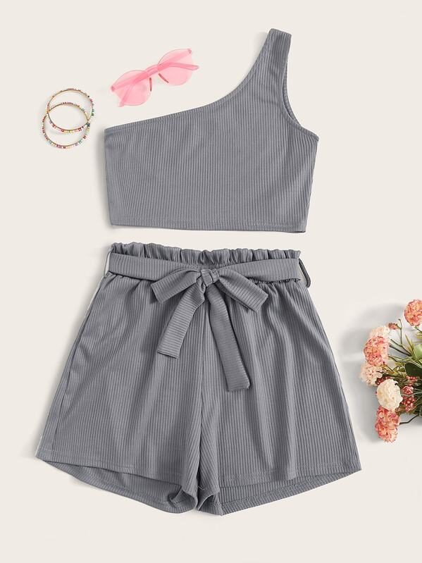 One Shoulder Crop Top & Frill Waist Belted Shorts