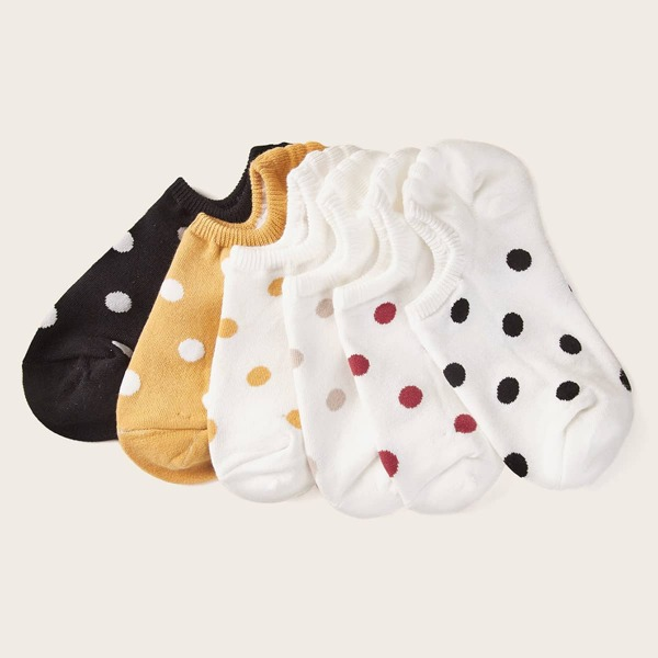 Polka Dot Pattern Ankle Socks 6pairs, Multicolor