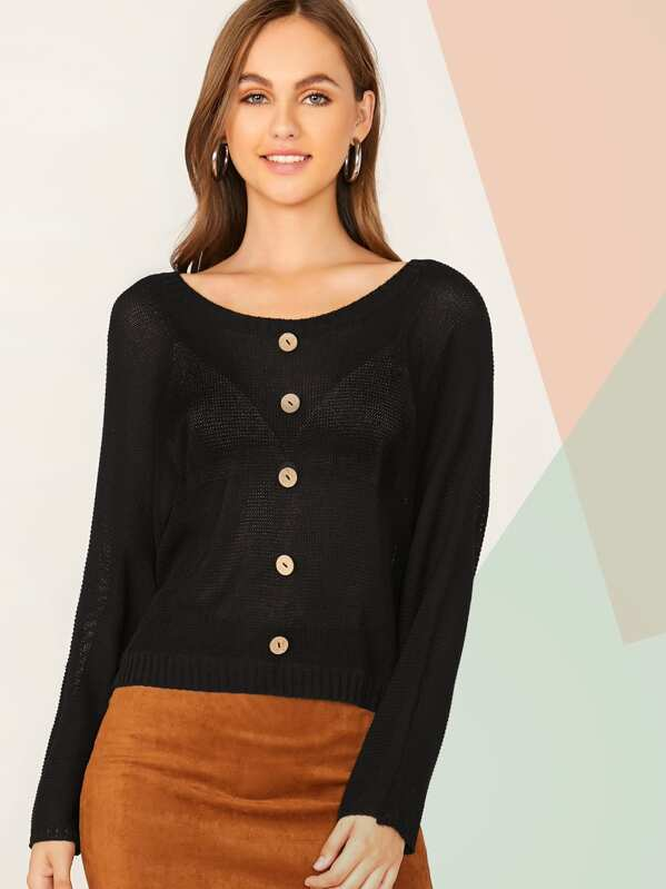 Solid Button Front Knit Top, Lily Easton