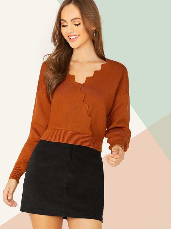 Drop Shoulder Scallop Trim Sweater, Lily Easton