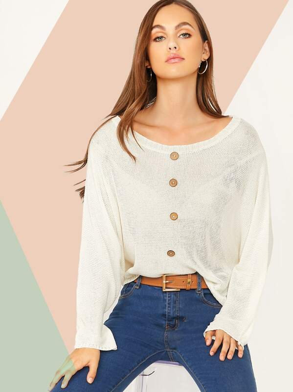 Button Front Solid Knit Top, Lily Easton