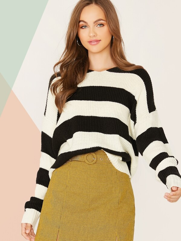 Two Tone Drop Shoulder Sweater, Lily Easton