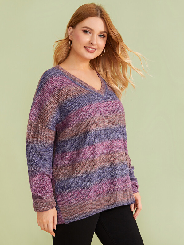 Plus Random Drop Shoulder Sweater, Multicolor, Nora