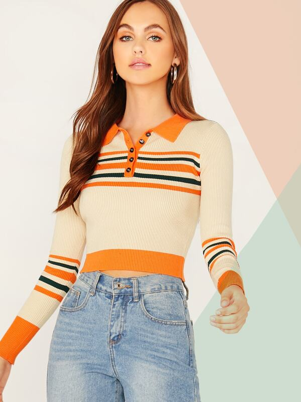 Button Front Striped Knit Top, Lily Easton