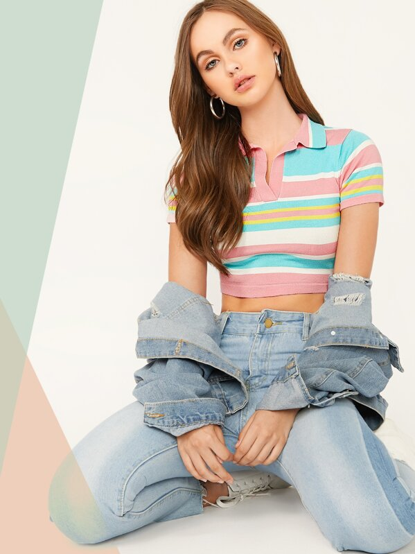 Rainbow Striped Crop Collar Knit Top, Lily Easton
