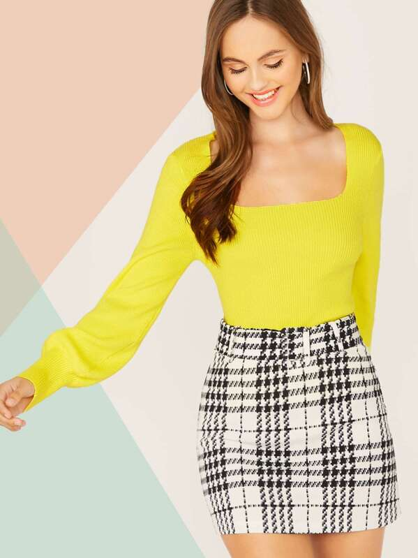 Solid Lantern Sleeve Knit Top, Lily Easton