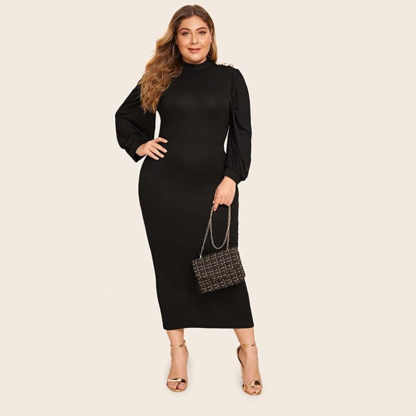 Plus Button Shoulder Slit Hem Pencil Dress