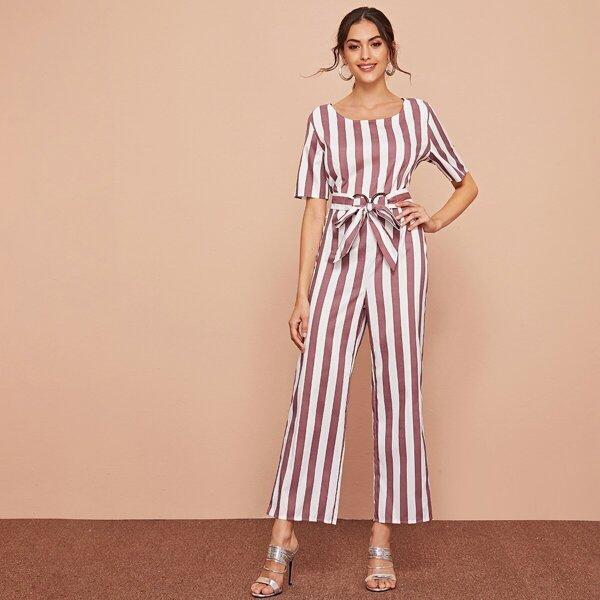 Striped Self Tie Waist Jumpsuit, Multicolor