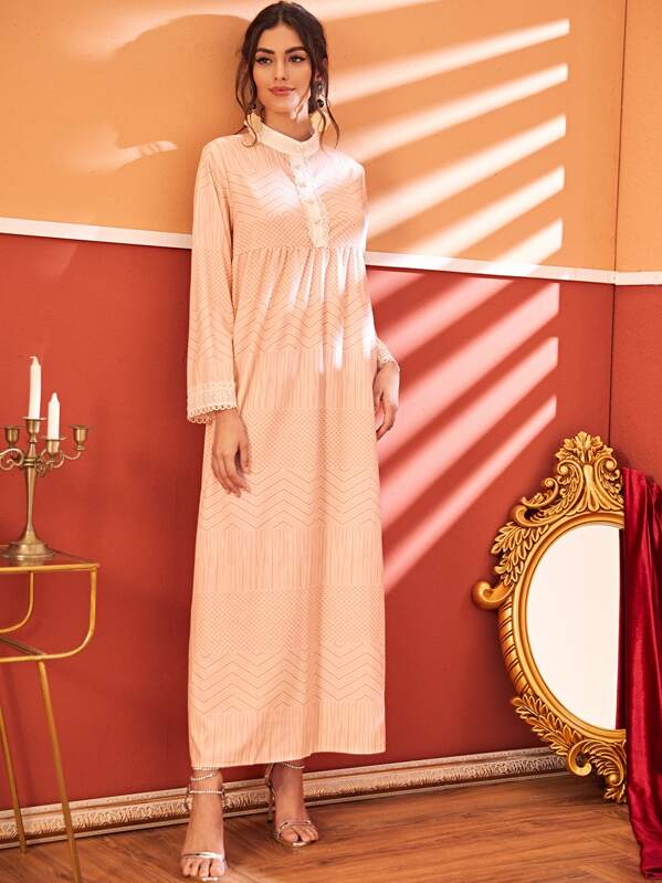 Contrast Lace Chevron Print Dress, Carol A