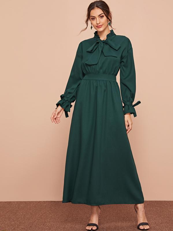Frill Trim Tie Neck Dress, Carol A