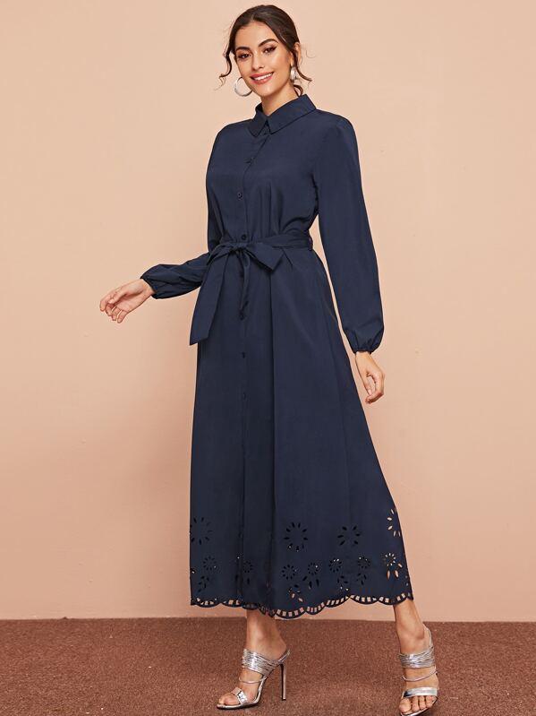 Laser Cut Scallop Hem Belted Shirt Dress, Carol A