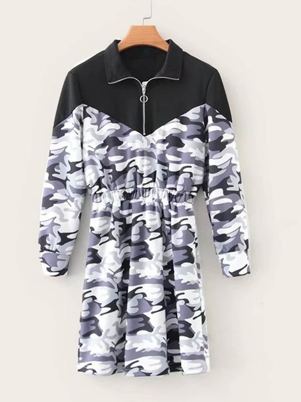 Half Zip Contrast Camo Print Sweat Dress