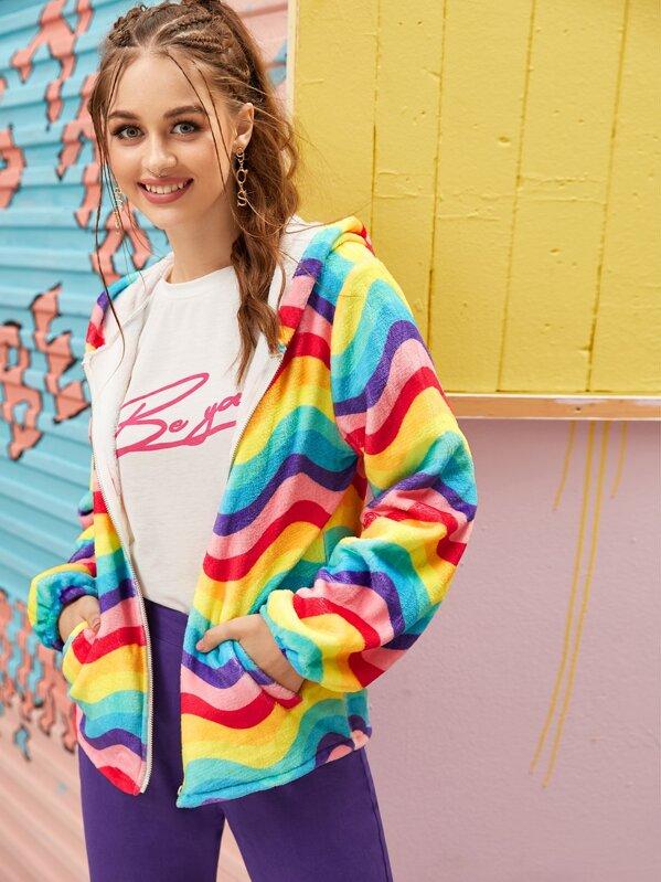 Rainbow Stripe Hooded Teddy Jacket, Sonya