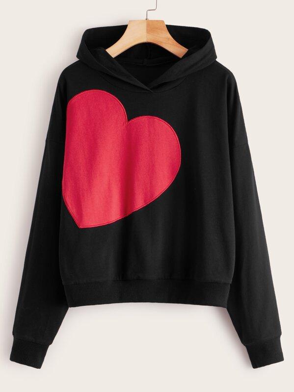 Heart Embroidery Hooded Sweatshirt