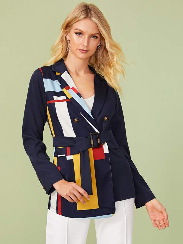 Color-block Notched Neck Belted Blazer, Layson