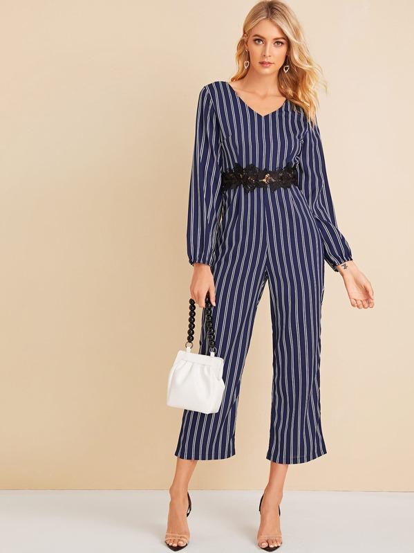 Contrast Lace Vertical Striped Jumpsuit, Layson