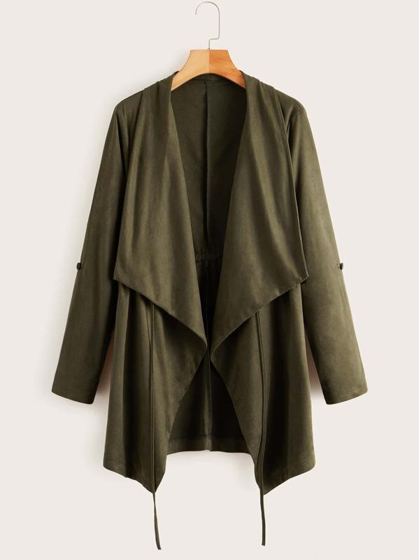 Solid Waterfall Collar Drawstring Waist Coat