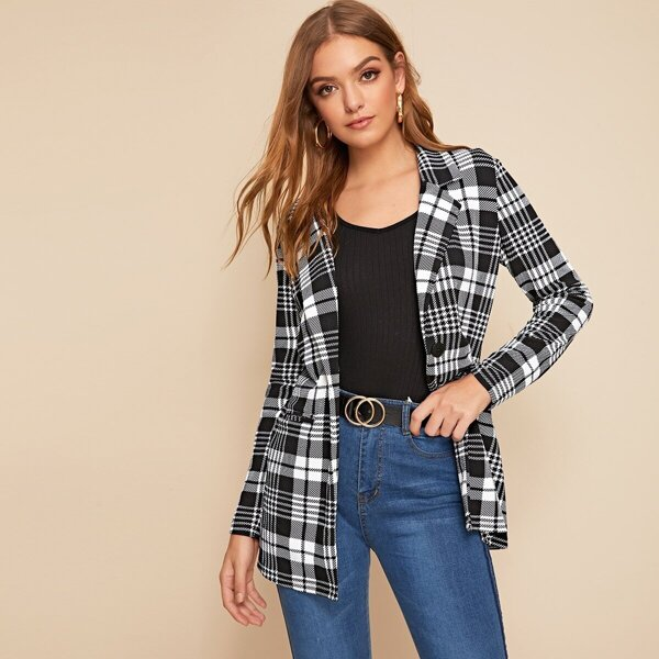 Single Buttoned Notched Collar Plaid Blazer, Black and white
