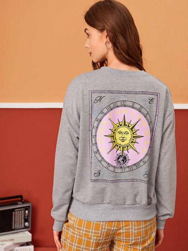 Time Zone Print Drop Shoulder Sweatshirt, Aleksandra J