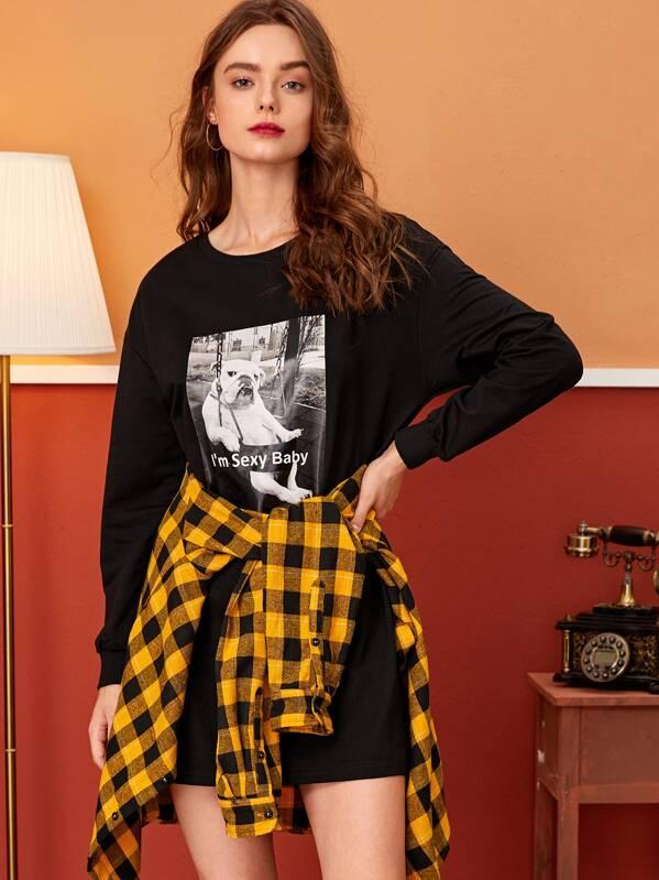 Slogan & Dog Print Sweatshirt Dress, Aleksandra J