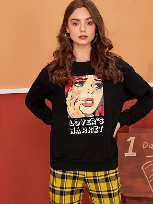 Letter & Figure Print Drop Shoulder Sweatshirt, Aleksandra J