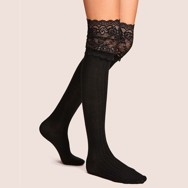 Lace Trim Knee Length Socks 1pair, Black