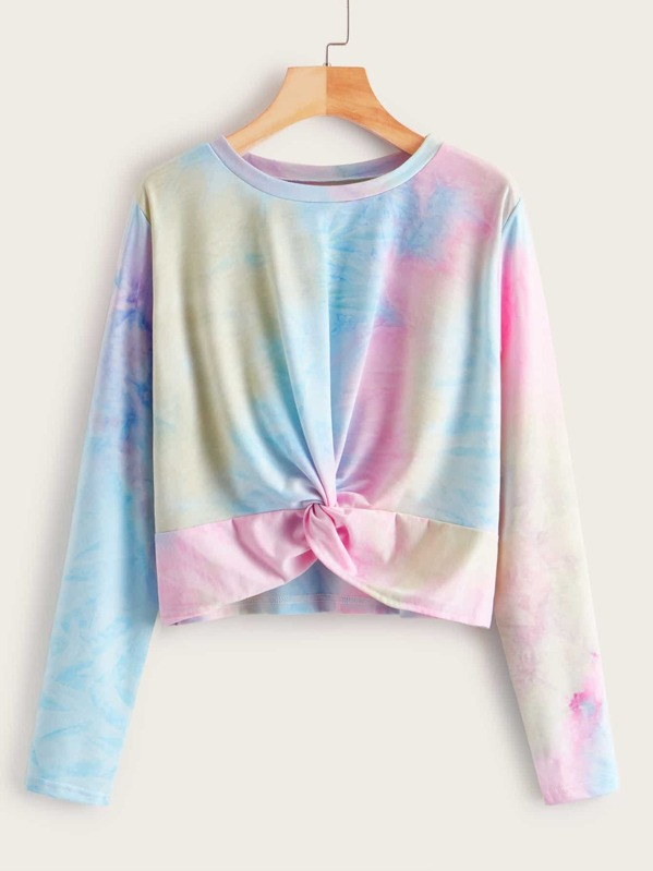 Twist Front Tie Dye Sweatshirt